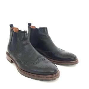 JOHNSTON & MURPHY LEATHER PULL-ON WINGTIP BOOTS 10